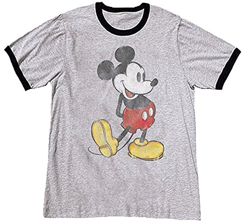 Disney Adult Unisex Classic Mickey Mouse T Shirt (L, (Star Ringer T-shirt)