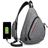 Sling Bag Chest Backpack Shoulder Crossbody Daypack with Phone Pocket USB Charging Port