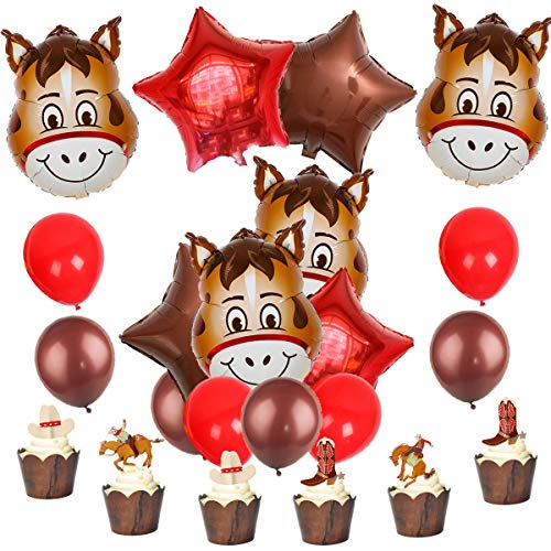 JOYMEMO Western Party Supplies Cowboy Decorations Horse Foil Balloons and Cake Toppers for Boys Birthday Baby Shower -