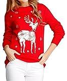v28 Ugly Christmas Sweater, Women Girls Cute Shining Reindeer Pullover Sweater (S, Red (Light-Gold Deer))