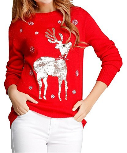 v28 Ugly Christmas Sweater, Women Girls Cute Shining Reindeer Pullover Sweater (S, Red (Light-Gold Deer)) by v28