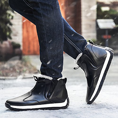 Nero Caldo Stivali Uomo da Invernali con Scarpe Scarponcino Caviglia Impermeabile TQGOLD neve pelliccia vwq74WF