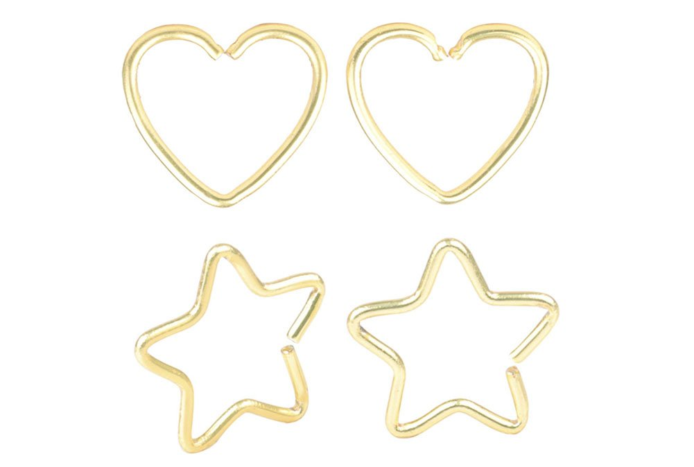 4 Pcs Mix Surgical Steel Heart& Star Shaped Lip Ear Nose Hoop Ring Earrings Clip Non Piercing Jewelry &9 A+ CM