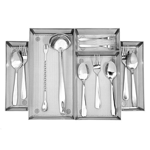 Expandable Kitchen Drawer Organizer, 5 Separate Compartment with Anti-slip Mats Mesh Kitchen Cutlery Trays Silverware Storage Kitchen Utensil Flatware Tray by Furniture Life (Image #1)