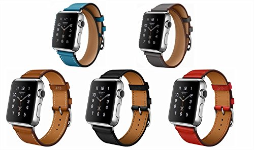 SUPTG 5 Colors Leather Single Straps Bands Loops for Apple Watch Smart Watch