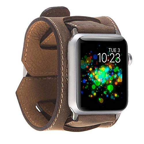 Hardiston Leather Band Compatible with Apple Watch | Handmade Genuine Leather Replacement Cuff for iWatch Series 4 (44mm) / Series 3 Series 2 Series 1 (42mm) | Arm Band | Antic Dark Brown