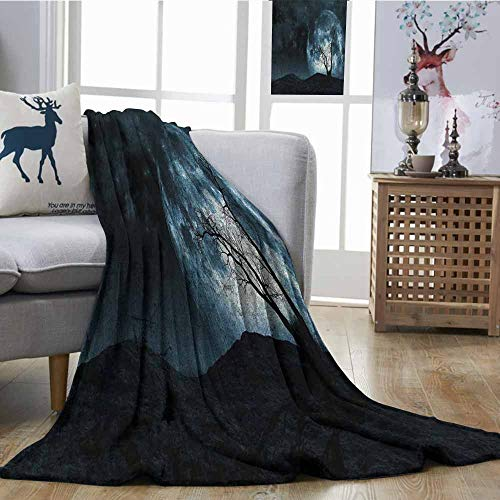 SONGDAYONE Breathable Blanket Fantasy Easy to Carry Night Moon Sky with Tree Silhouette Gothic Halloween Colors Scary Artsy Background Slate Blue W51 xL60]()
