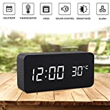 Alarm Clock,Wood Digital Alarm Clock, Wooden Wake Up Bedside Travel Alarm Clock with Time Temperature Humidity Sound Control Led Alarm Clock for Home Bedroom Office