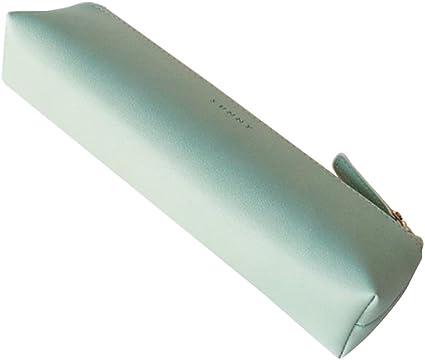Fyore - Estuche de piel de lujo, diseño delgado con cremallera metálica, tamaño de bolsillo para bolígrafo y brocha de maquillaje, color verde 20*5*4.4cm: Amazon.es: Oficina y papelería