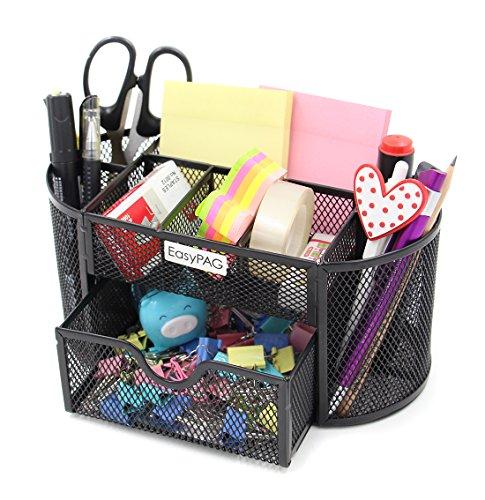 easypag mesh desktop organizer 9 components desk accessories caddy with drawer b ebay. Black Bedroom Furniture Sets. Home Design Ideas