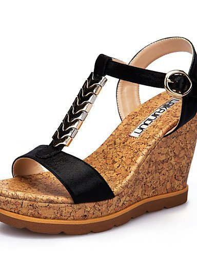 Black Sandals Women's Wedge Black Dress Peep Wedges Leatherette amp; Toe Gold Casual Career ShangYi Office Shoes Heel 6w4qRq