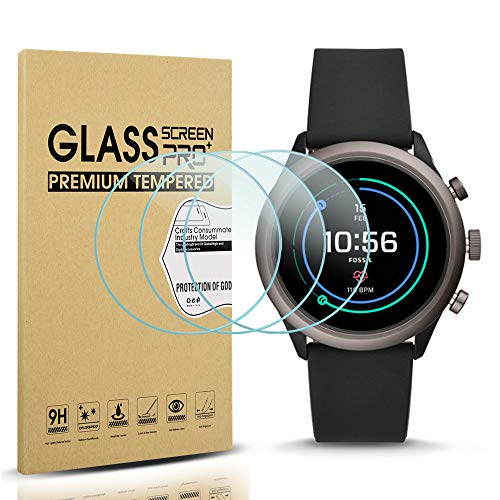 Diruite 3-Pack for Fossil Sport 43mm 2018 Screen Protector Tempered Glass for Fossil Sport 43mm Gen 4 Watch [2.5D 9H Hardness] [Anti-Scratch] [Bubble-Free] - Permanent Warranty Replacement
