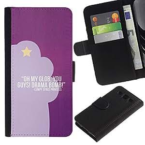Planetar® Modelo colorido cuero carpeta tirón caso cubierta piel Holster Funda protección Samsung Galaxy S3 III i9300 i747 ( Purple Funny Text Quote Star Drama Acting )