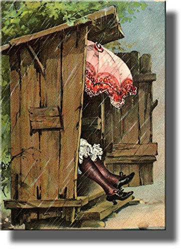 A Woman with Umbrella in Ladies Outhouse Toilet