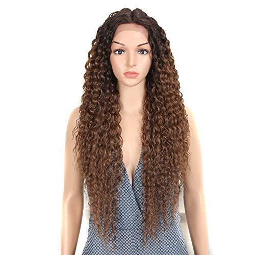 Joedir Lace Front Wigs Ombre Blonde 28'' Long Small Curly Wavy Synthetic Wigs For Black Women 130% Density Wigs(TT6/30)