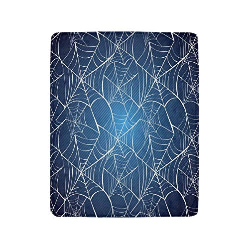 InterestPrint Happy Halloween Spider Webs Over Blue Background Luxury Soft Warm Lightweight Throw Blanket Bed Couch 40 x 50 Inches]()