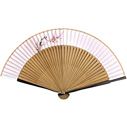 Perforated Woood Folding Fan - Hand Painted Fabric - Pink Cherry Blossom - Soft Violet & Brown