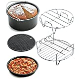 Hometom Nonstick Cake Pans Set, 5pcs Air Frying Pan fryer Baking Basket Pizza Plate Grill Pot Mat (Black)
