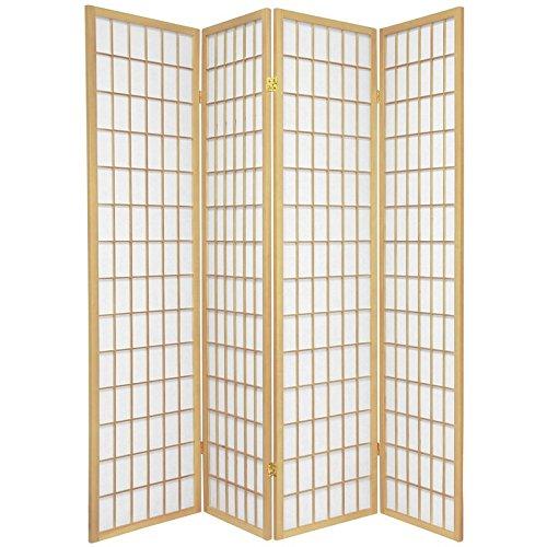 Oriental Furniture 6 ft. Tall Window Pane Shoji Screen - Natural - 4 Panels
