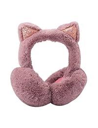 Cute Imitation Cat Ear Earmuffs Winter Warm Cover Collapsible Earmuffs Dark Pink