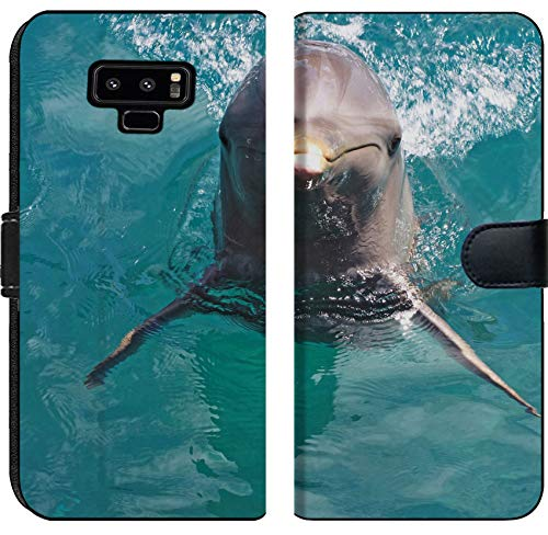 Liili Premium Samsung Galaxy Note9 Flip Micro Fabric Wallet Case Image ID: 10195823 A Wild Bottlenose Dolphin Turisops Truncatus Looking inquisitively Out of deep Blue atla