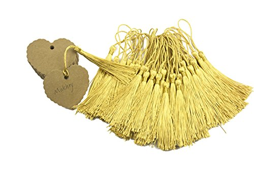 Makhry 100 Pcs Imported Hard-Paper Kraft Paper Gift Tags Wedding Favor Bonbonniere Favor Thank You Gift Tags with 100pcs Handmade Silky Tassels (Brown…