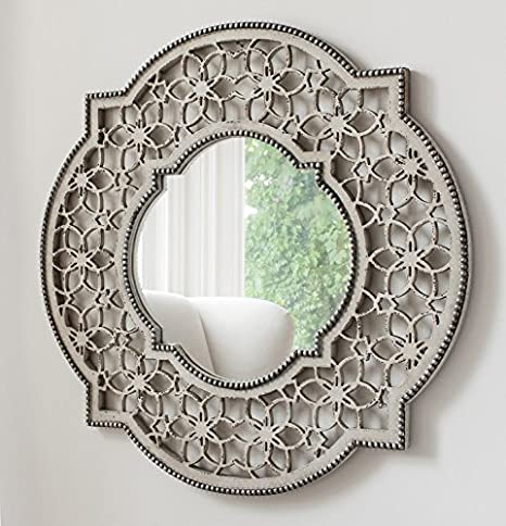 Barcelona Trading Romont Large Round Rustic Ornate Patterned Mirror Frame Wall Mirror 30 X 29 Amazon Co Uk Kitchen Home