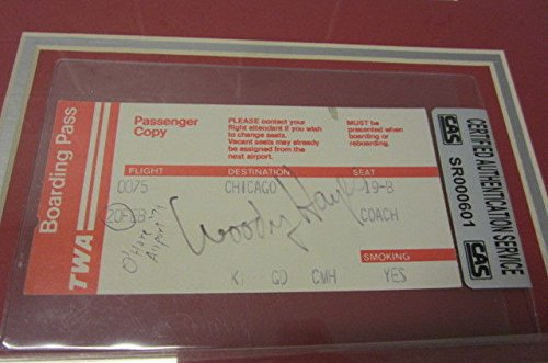 Woody Hayes Osu Buckeyes Signed Framed Matted Boarding Pass Ticket Cas Coa JSA Certified