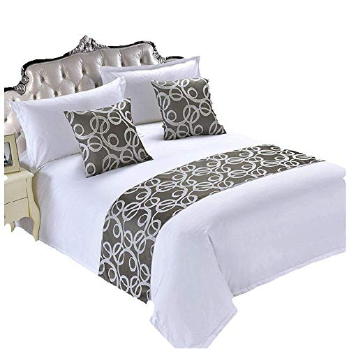 YIH Bed Runners & Scarves 3 Piece Set Grey, Home Hotel Decor Luxury Foot Bed Runner Scarf, 1 Bed Runner + 2 Throw Pillow Case