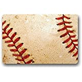 Doormat No.01 Custom Baseball Background Home Door Mats Top Fabric&Rubber Bathroom Welcome Mats Floor Mat Rug Carpets Indoor/Outdoor (23.6X15.7 Inches)