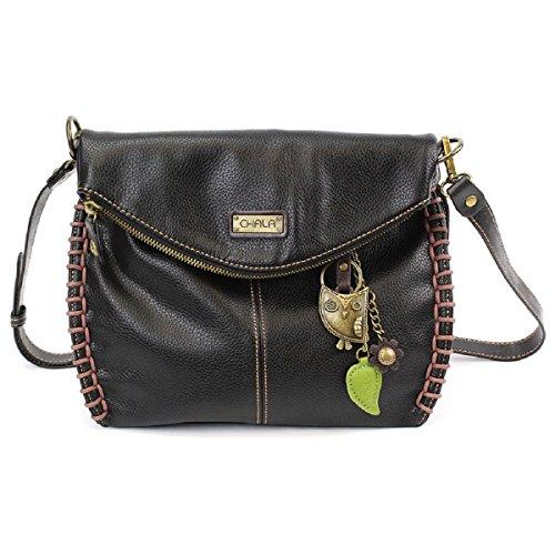 Chala Charming Crossbody Bag With Flap Top and Zipper Black Cross-Body Purse or Shoulder Handbag with Metal Chain - Bird