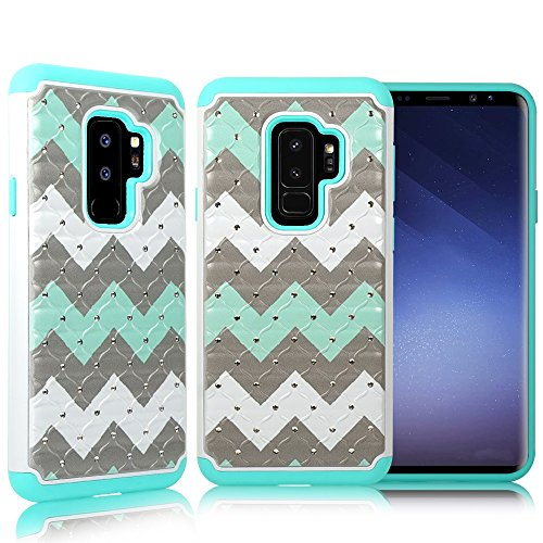 ZASE Case Compatible with Samsung Galaxy S9+ PLUS, Galaxy S9 PLUS Case Dual Layer Protection [Jewel Rhinestone] Shockproof Slim Hard Shell Sparkly Crystal [Bling Diamond] (Teal Mint Wave)