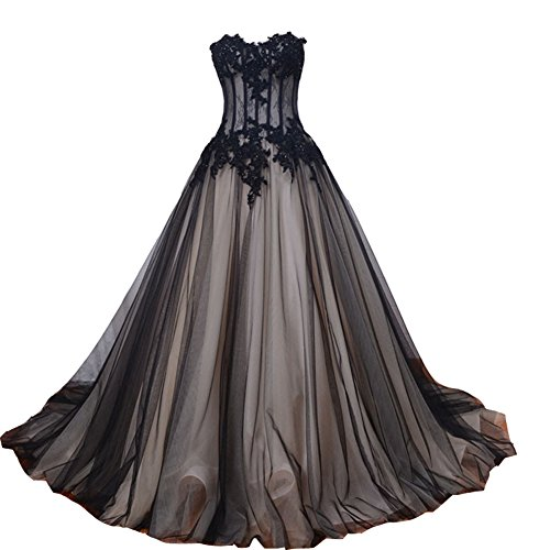 champagne and black lace prom dress - 6