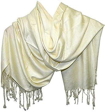 Pañuelo pasmina estilo crema blanco roto viscosa algodón 180x70 cm ...