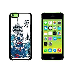 Chinese Dragon Waves and Pagoda Snap On Hard Protective For SamSung Galaxy S5 Mini Phone Case Cover - Black