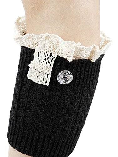 Gingas Galleria Womens Knitted Clear Button Lace Boot Cuffs Black lz7XiY