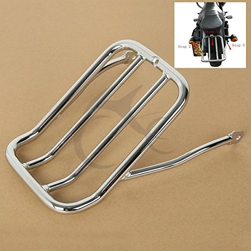 (TCMT Chrome Chopped Fender Luggage Rack Mount Fits For Harley Iron 883 XL883N 2009-2019)