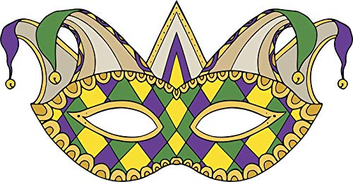 BW MAG Magnet Pretty Intricate Traditional Mardi Gras Style Colored Masquerade Mask Vinyl Magnet (12