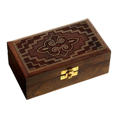 ShalinIndia Jewelry Box in Wood Islamic Art Handmade Inlay and Carving 6x3.3x2.25 Inches