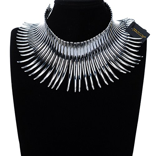 Fashion Sparkling Silver Tone Canine Shape Short Choker Collar Statement Necklace by Jerollin (Image #1)