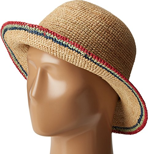 - SCALA Women's Crochet Raffia Bucket with Contrasting Fuchsia Hat
