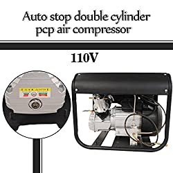 ZXMOTO High Pressure Air Compressor for Paintball PCP Airgun Rifle Scuba Tank Filling 4500PSI Auto Stop Double Cylinders Water Cooling Air Pump 110V