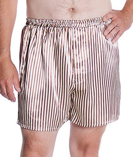 Vx Intimate Men's Satin Boxer Short # 8025 (L, Mocha Stripes)