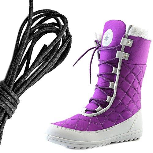 Daily Shoe Mujeres Comfort Punta Redonda Media Pantorrilla Plana Tobillo Alto Esquimal Invierno Botas De Piel De Nieve, Negro Púrpura