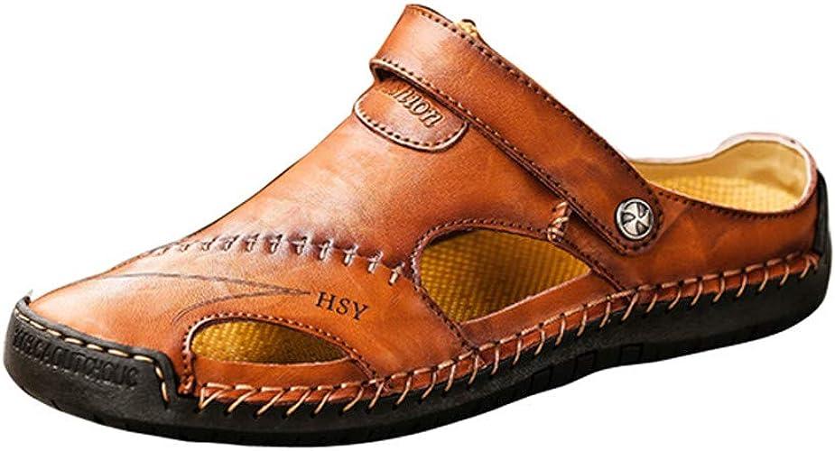 LILIGOD Männer Sommer Sandalen Herren Ledersandalen Casual Outdoor Strandschuhe Atmungsaktive rutschfeste Sandalen Flache Baotou Sandalen Herren