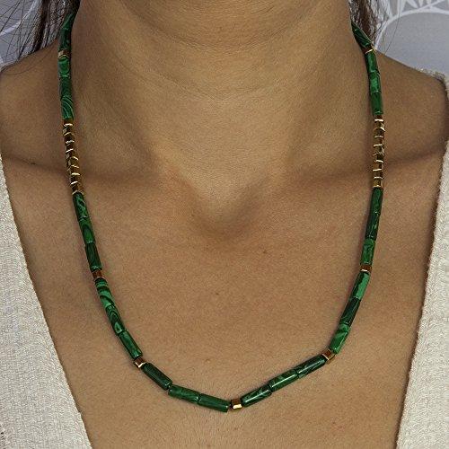Malachite Necklace, Beaded Unisex Gemstone Necklaces, Adjustable Length, Free Expedited Shipment