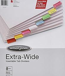 Wilson Jones Oversized Insertable Dividers, 8-Tab Set, Multicolor Tabs (W55208A)