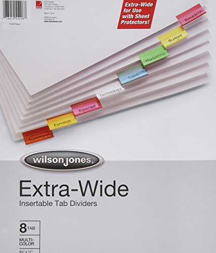 Wilson Jones Oversized Insertable Dividers, 8-Tab Set, Multicolor Tabs (W55208A)