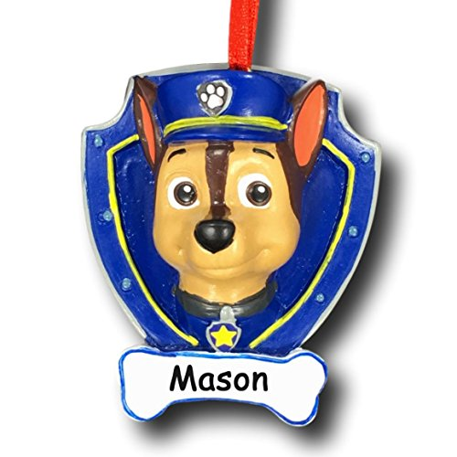 Personalized Paw Patrol Chase Christmas Ornament with Name