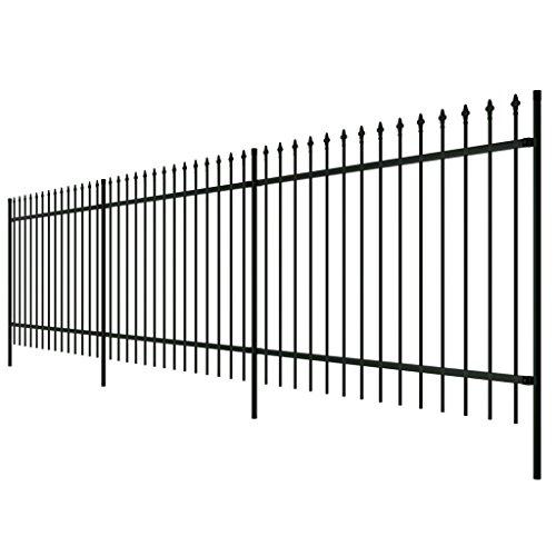 vidaxl-ornamental-security-palisade-fence-steel-black-pointed-top-2